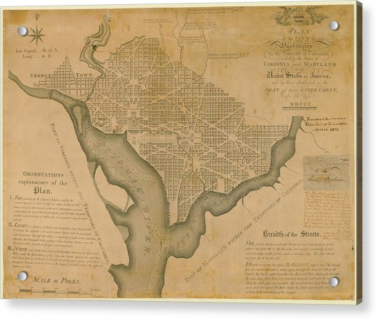 District Of Columbia 1792 Washington Acrylic Print