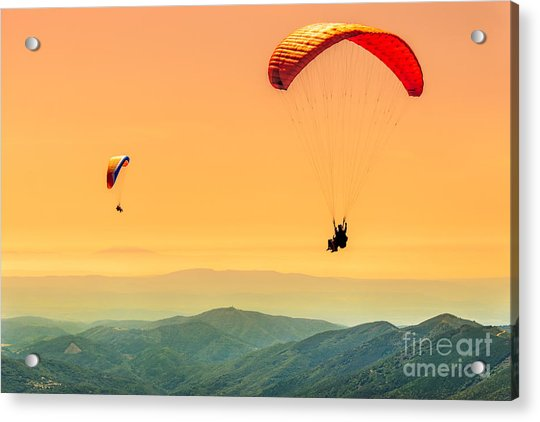 Duo Paragliding Flight Acrylic Print