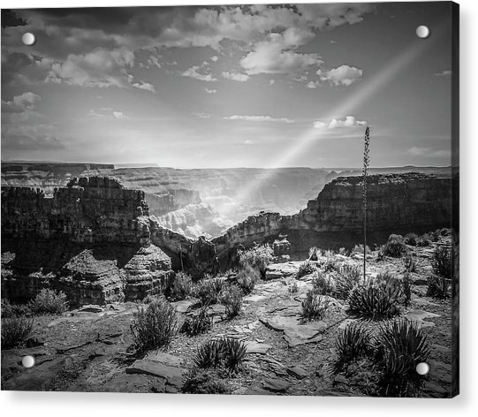 Eagle Rock, Grand Canyon In Black And White Acrylic Print