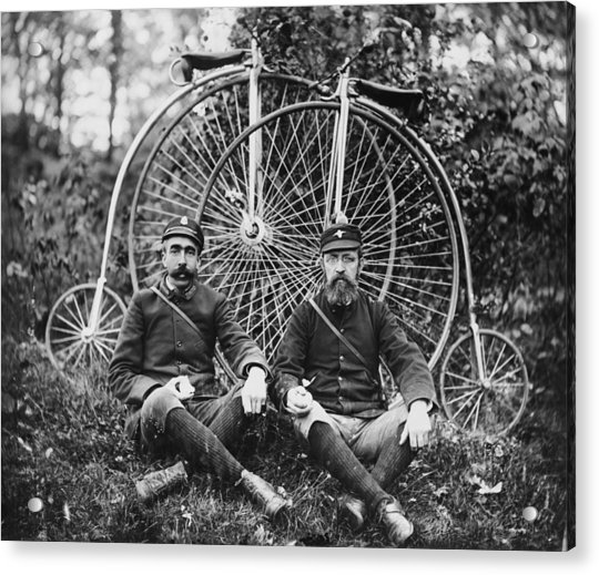 Early Bicyclists Taking A Break By Acrylic Print by Bettmann
