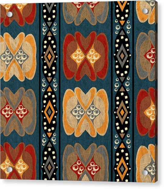 East African Heart And Diamond Stripe Pattern Acrylic Print