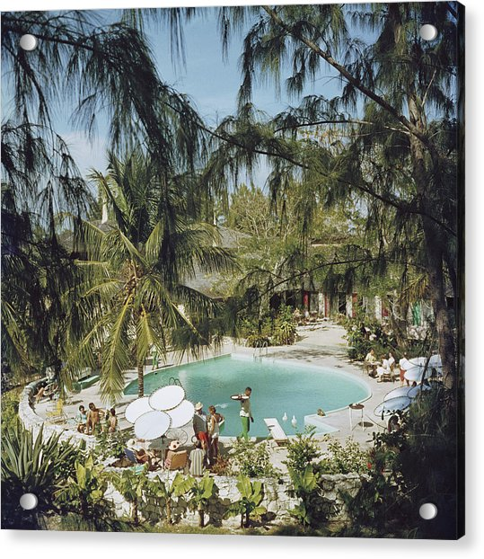 Eleuthera Pool Party Acrylic Print by Slim Aarons
