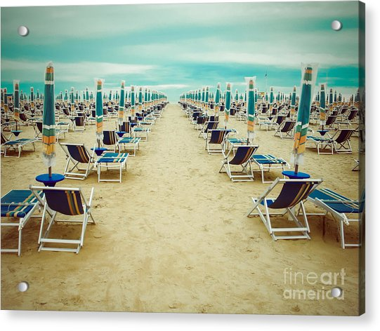 Empty Beach Scenery With Deckchairs And Acrylic Print by Anastazzo
