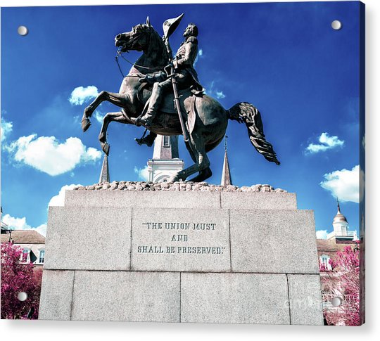 Equestrian Statue Of Andrew Jackson In New Orleans Acrylic Print by John Rizzuto