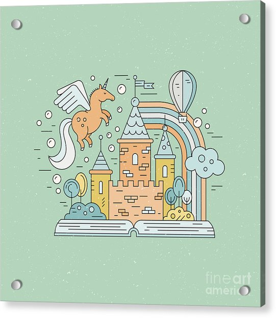 Fairytale Illustration With Open Book Acrylic Print by Olga Zakharova
