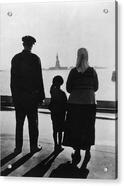 Family Views Statue Of Liberty From Acrylic Print by Fpg