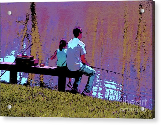 Father And Daughter Go Fishing Acrylic Print