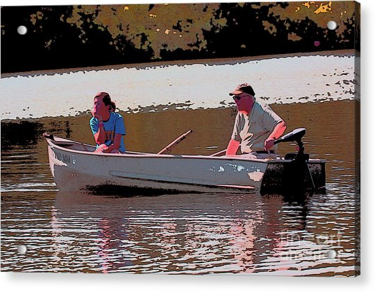 Father And Daughter Go For Boat Ride Acrylic Print