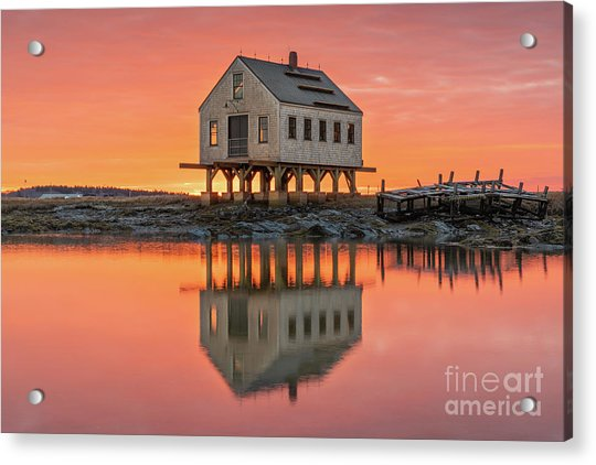 Fiery Skies At Cape Porpoise Acrylic Print