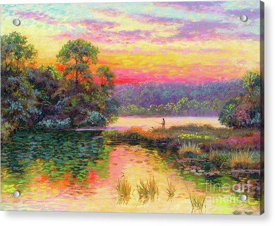 Fishing In Evening Glow Acrylic Print