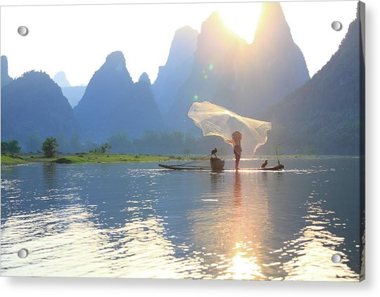 Fishing On The Li River Acrylic Print by Bihaibo