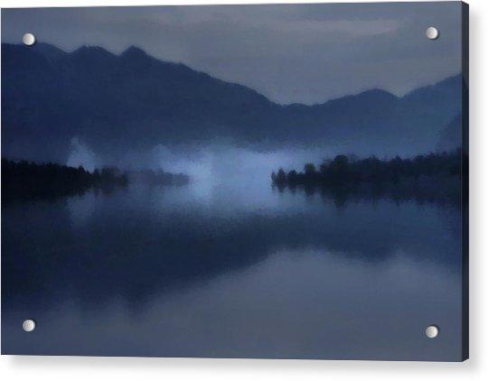 Fog On The Dark Mountain Lake Acrylic Print
