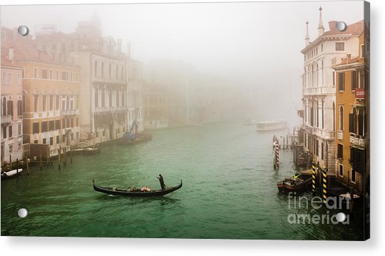 Foggy Morning On The Grand Canale, Venezia, Italy Acrylic Print