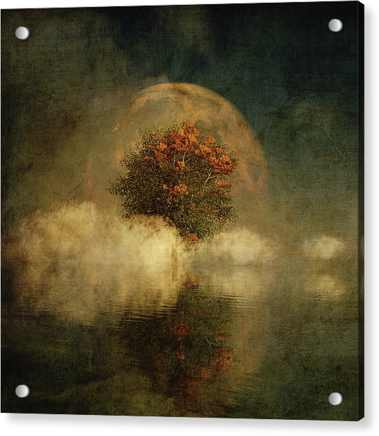 Acrylic Print featuring the digital art Full Moon Over Misty Water by Jan Keteleer