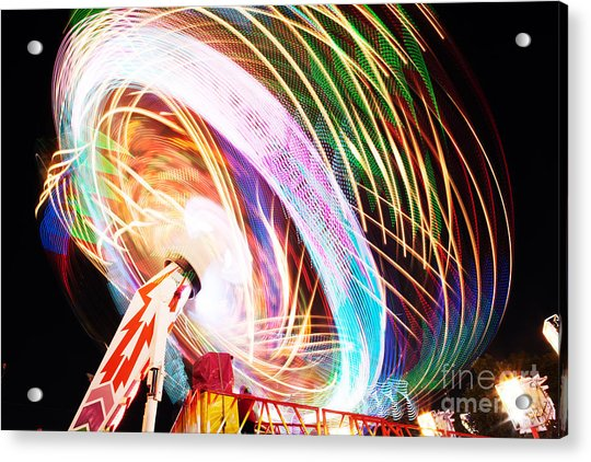 Fun Fair, Long Exposure. Colourful Acrylic Print by David Mg