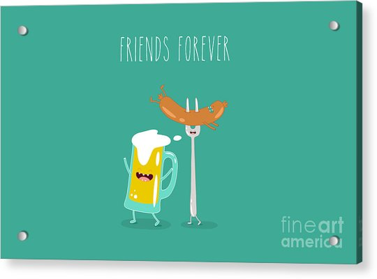 Funny Beer With Sausage. Vector Acrylic Print