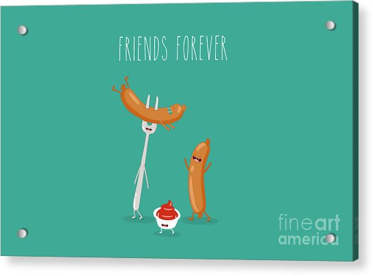 Funny Sausage On A Fork With Ketchup Acrylic Print