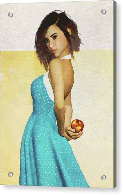 Acrylic Print featuring the digital art Girl Holding An Apple by Jan Keteleer