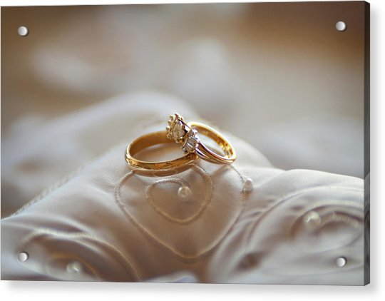 Gold Wedding Rings On A Pillow Acrylic Print by Driendl Group