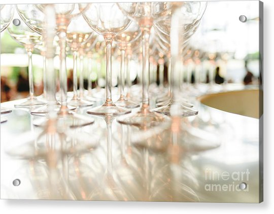 Group Of Empty Transparent Glasses Ready For A Party In A Bar. Acrylic Print
