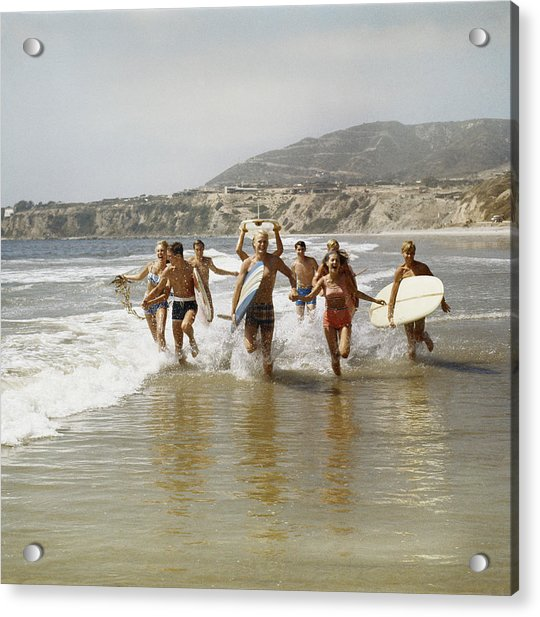 Group Of Surfers Running In Water With Acrylic Print