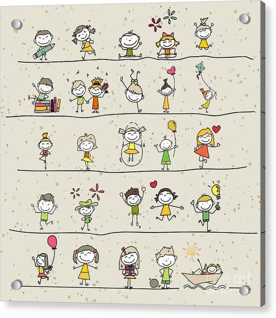 Hand Drawing Cartoon Happy Kids Playing Acrylic Print