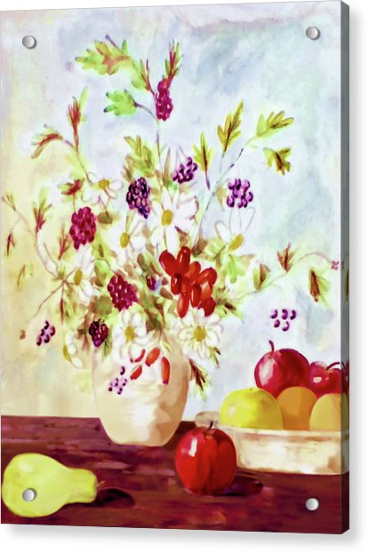 Acrylic Print featuring the painting Harvest Time-still Life Painting By V.kelly by Valerie Anne Kelly