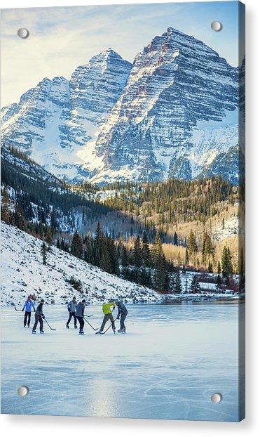 Hockey On Maroon Lake Maroon Bells Aspen Colorado Acrylic Print
