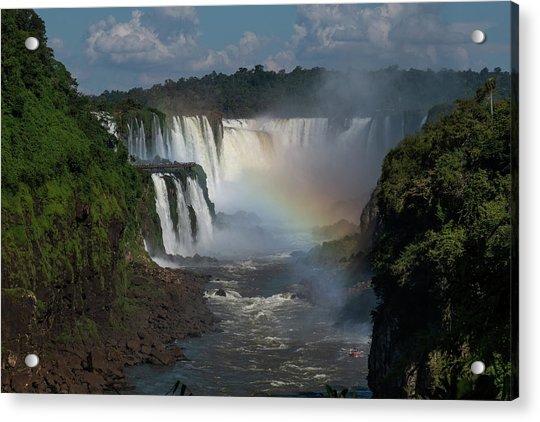 Iguazu Falls With A Rainbow Acrylic Print