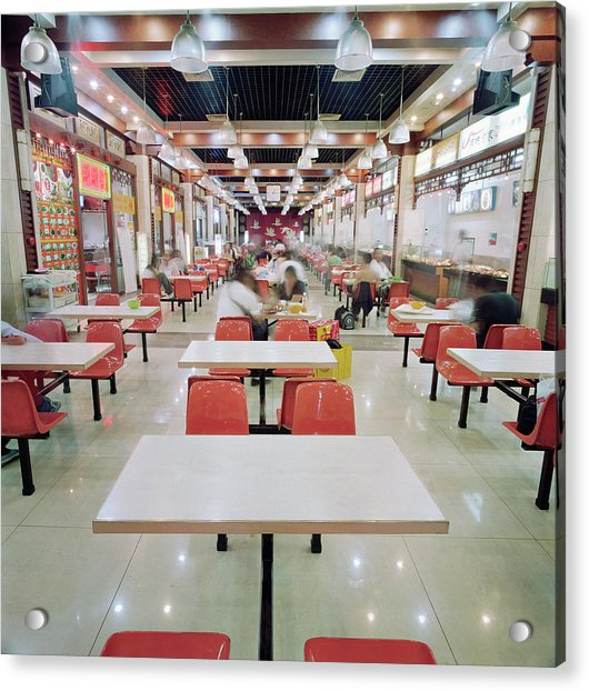 Interior Of Fast Food Restaurant In Acrylic Print by Martin Puddy