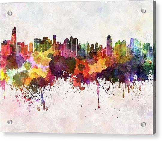 Jakarta Skyline In Watercolor Background Acrylic Print by Cristina Romero Palma