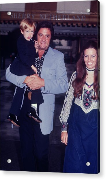 Johnny Cash And Family Acrylic Print by Art Zelin