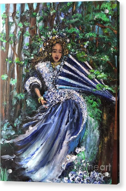 Acrylic Print featuring the painting Lady In Forest by Laurie Lundquist