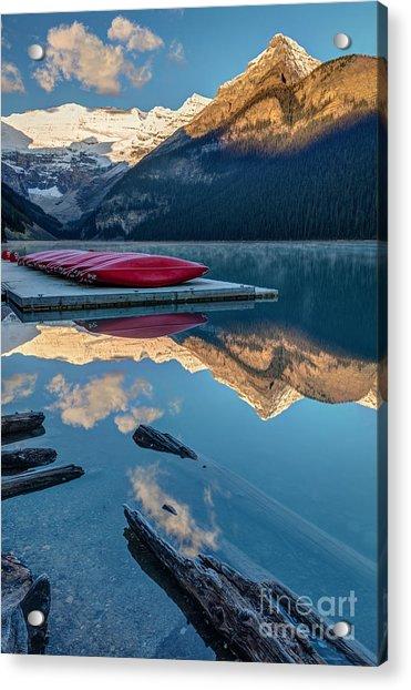 Lake Louise Canoes In Banff National Acrylic Print