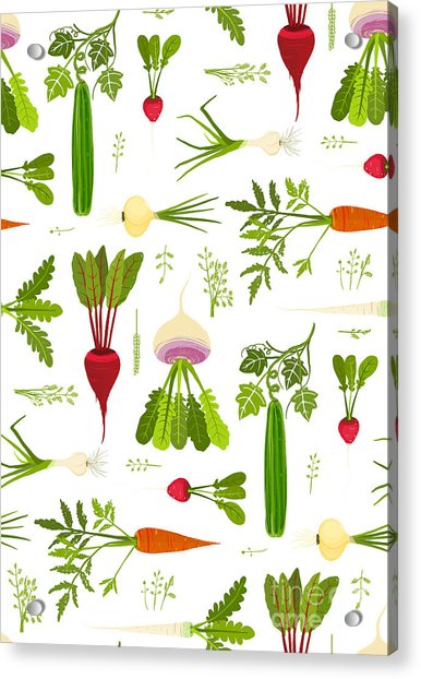 Leafy Vegetables And Greens Seamless Acrylic Print
