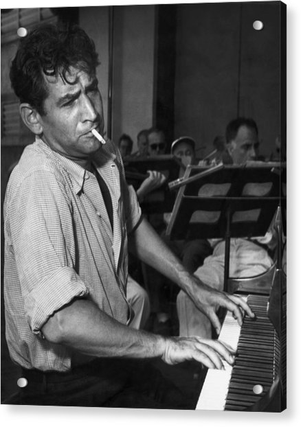 Leonard Bernstein Smoking At Piano Acrylic Print by Bettmann