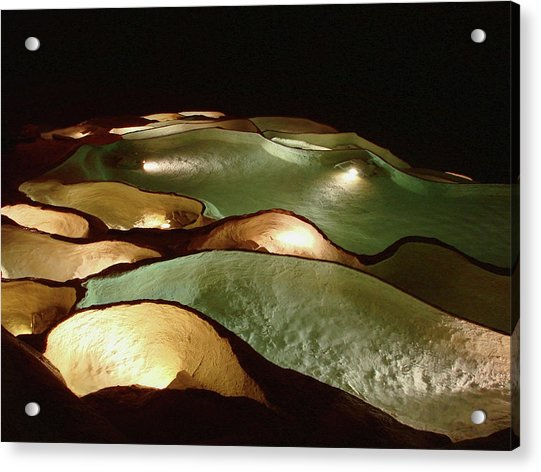 Light Up The Dark - Lit Natural Rock Water Basins In Underground Cave Acrylic Print