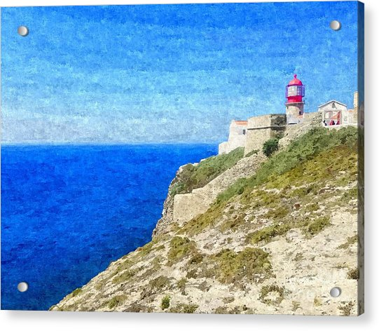 Lighthouse On Top Of A Cliff Overlooking The Blue Ocean On A Sunny Day, Painted In Oil On Canvas. Acrylic Print