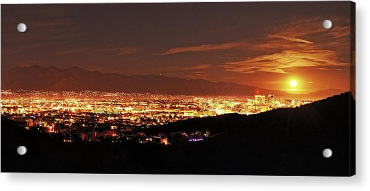 Lights Of Tucson And Moonrise Acrylic Print
