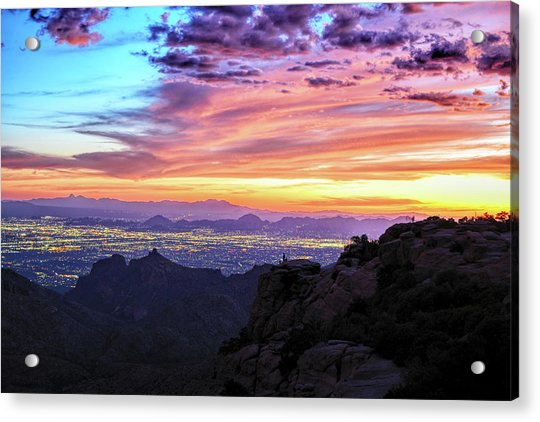 Lights Of Tucson At Sunset Acrylic Print