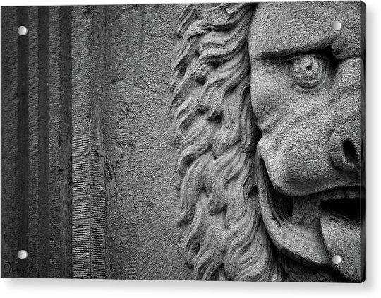 Lion Statue Portrait Acrylic Print