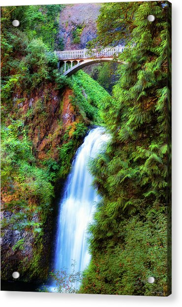Lower Multnomah Waterfall In The Columbia River Gorge Acrylic Print