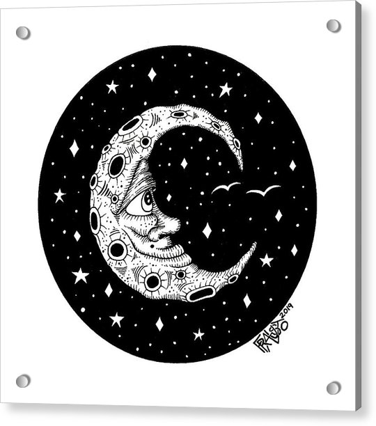 Man In The Moon Drawing Acrylic Print by Rick Frausto