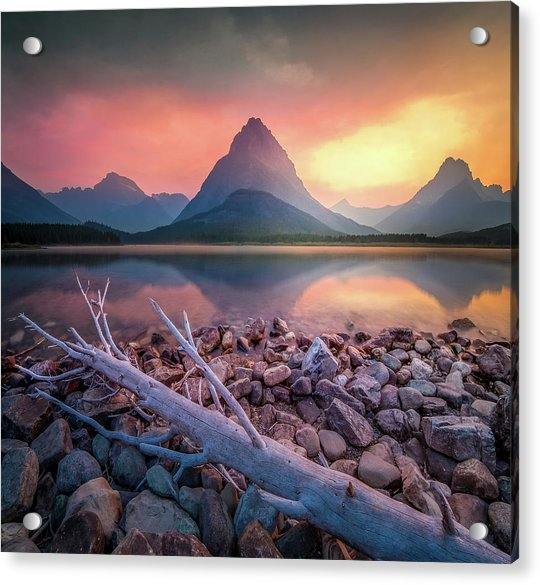 Many Glacier Sunset / Swiftcurrent Lake, Glacier National Park  Acrylic Print