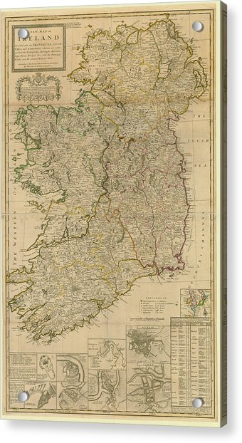 Map Of Ireland From 1714 Acrylic Print