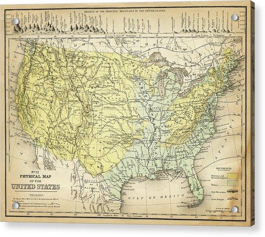 Map Of Usa 1867 Acrylic Print
