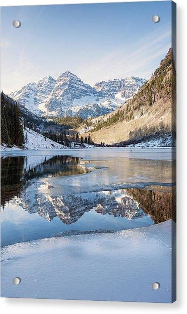 Maroon Bells Reflection Winter Acrylic Print