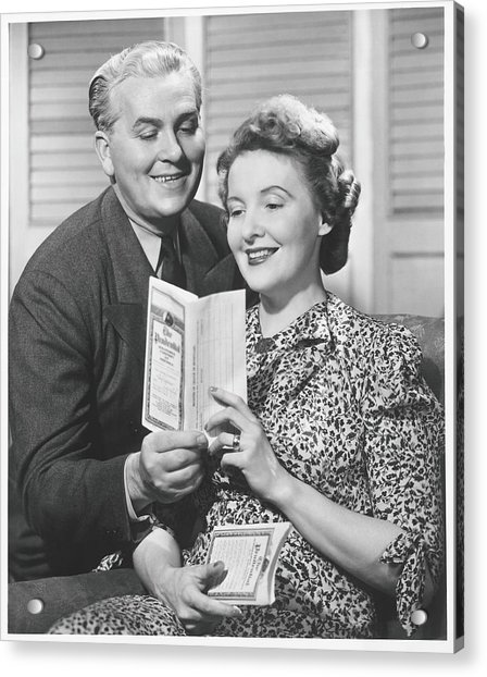 Mature Couple Looking At Brochure, B&w Acrylic Print