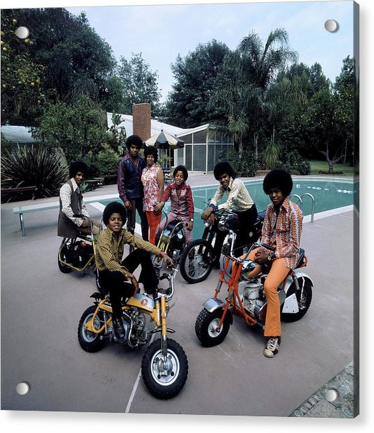 Members Of Pop Group Jackson Five Acrylic Print by John Olson