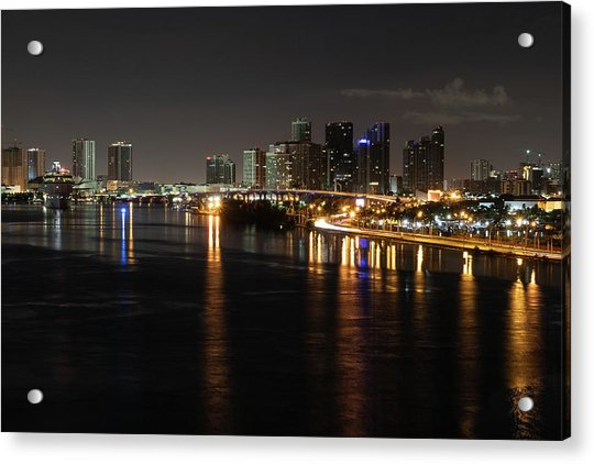 Miami Lights At Night Acrylic Print
